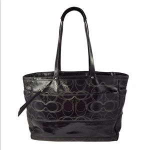 Coach Black Patent Leather Diaper Bag Purse NWT